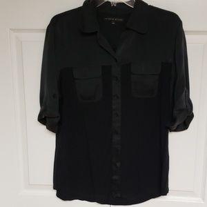 Button down blouse two tone black
